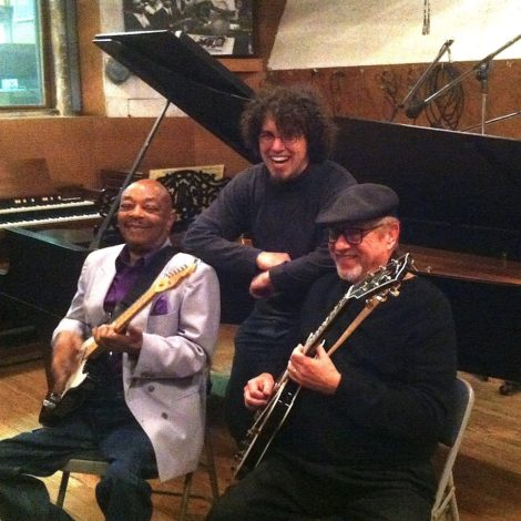 Eddie Willis (left) with Drew Schutlz (middle) and guitarist Dennis Coffey (right). Photo credit: Drew Schultz.