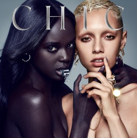 The album cover for the new Chic record, It's About Time.